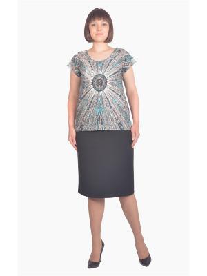 Блузка Томилочка Мода ТМ. Цвет: черный, бежевый, бирюзовый