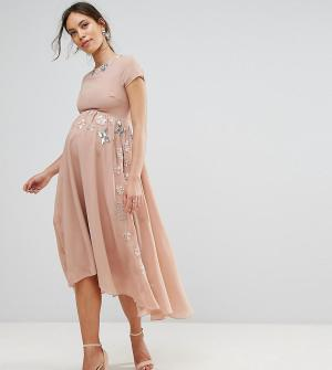 Maya Maternity Декорированная юбка миди с асимметричным краем. Цвет: фиолетовый