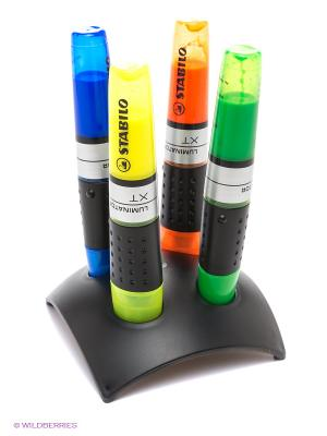 Набор маркеров, 4 шт. Stabilo. Цвет: желтый, зеленый, синий, черный