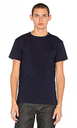Тяжелая футболка с карманом 3sixteen. Цвет: синий
