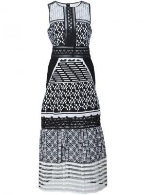 Платье миди с вышивкой Jonathan Simkhai. Цвет: чёрный