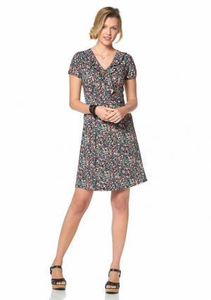 Платье CHEER. Цвет: черный/бирюзовый/коралловый/желтый с рисунком