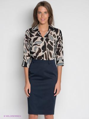 Блузка DRS Deerose. Цвет: черный, бежевый
