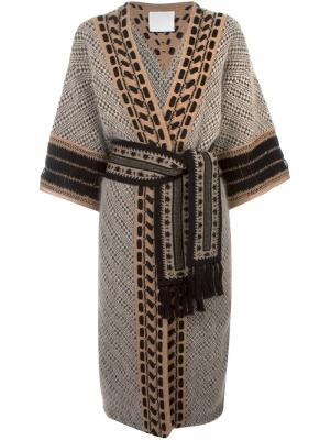 Пальто с узором и поясом на талии Mame. Цвет: телесный
