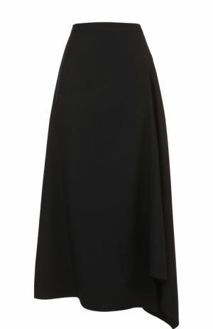 Юбка-миди асимметричного кроя Yohji Yamamoto. Цвет: черный