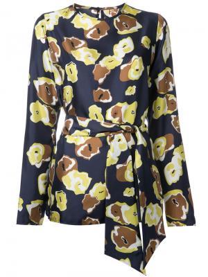 Блузка с цветочным узором Martin Grant. Цвет: синий