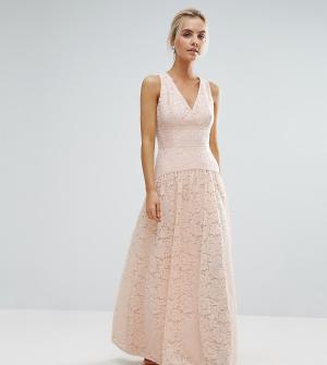 Little Mistress Petite Кружевное платье макси для выпускного с пышной юбкой P. Цвет: розовый
