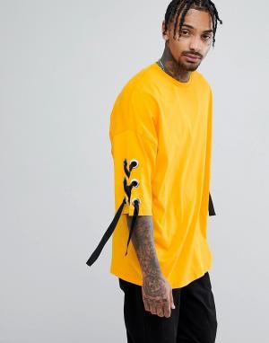 ASOS Желтая оверсайз-футболка из плотного трикотажа с люверсами и шнуровкой. Цвет: желтый