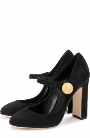 Замшевые туфли Vally на устойчивом каблуке Dolce & Gabbana. Цвет: черный