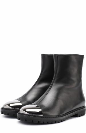 Кожаные ботинки с металлической отделкой Giuseppe Zanotti Design. Цвет: черный