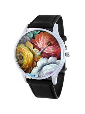 Дизайнерские часы Цветы роспись Tina Bolotina. Цвет: черный, белый, желтый, красный