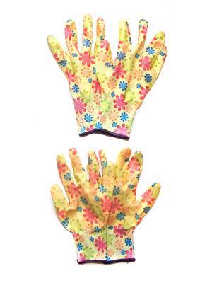 Садовые перчатки, 2 пары DiMi. Цвет: желтый