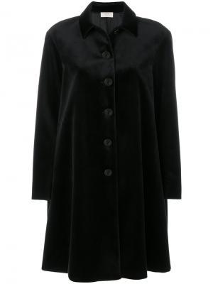 Классическое бархатное пальто Sara Battaglia. Цвет: чёрный