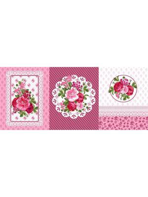 Набор из трех полотенец (45х60) Медальон Традиция. Цвет: малиновый, розовый, белый