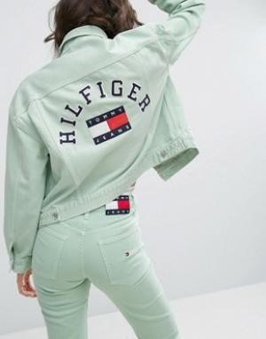 Tommy Jeans Спортивная куртка в стиле 90-х. Цвет: зеленый