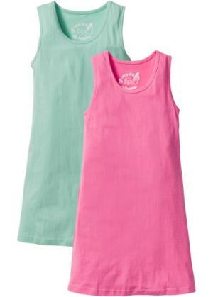 Трикотажное платье (2 шт.) (синий ментол/ярко-розовый) bonprix. Цвет: синий ментол/ярко-розовый