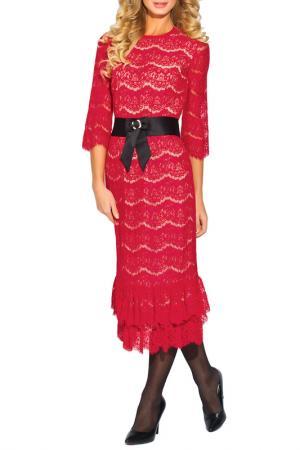 Очаровательное платье с поясом CLEVER. Цвет: красный