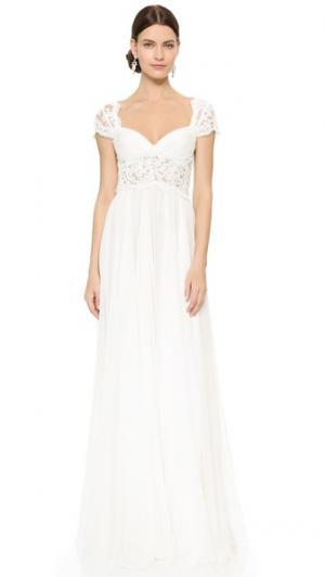 Вечернее платье Adele Reem Acra. Цвет: кремовый/розовый
