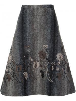 Пышная юбка с цветочной вышивкой Co. Цвет: серый