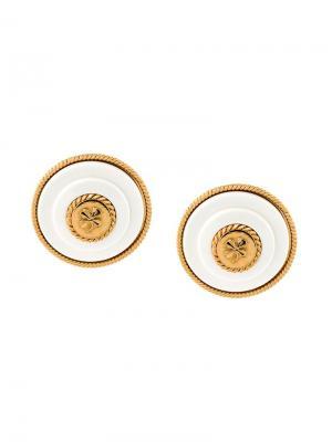 Круглые клипсы с логотипом Chanel Vintage. Цвет: белый