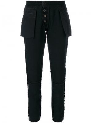 Вывернутые наизнанку зауженные брюки Unravel Project. Цвет: чёрный
