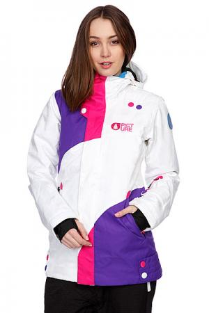 Куртка женская  Pulp Jkt White Picture Organic. Цвет: белый,фиолетовый