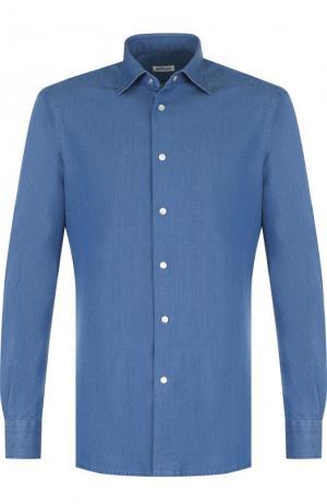 Рубашка из денима с воротником кент Kiton. Цвет: синий