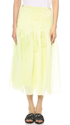 Плиссированная юбка Isa Tibi. Цвет: сельдерей