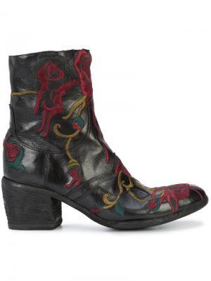 Ботинки с вышивкой Fauzian Jeunesse. Цвет: чёрный