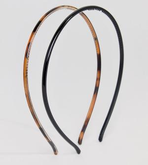 ASOS Набор из 2 пластмассовых обручей для волос DESIGN. Цвет: коричневый
