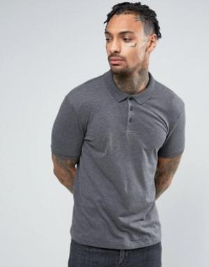 ASOS Темно-серая футболка-поло. Цвет: серый