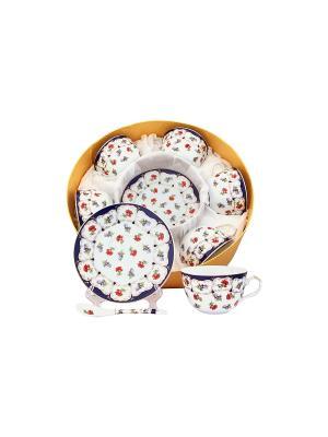 Чайный набор Цветочек Elan Gallery. Цвет: синий, красный, белый
