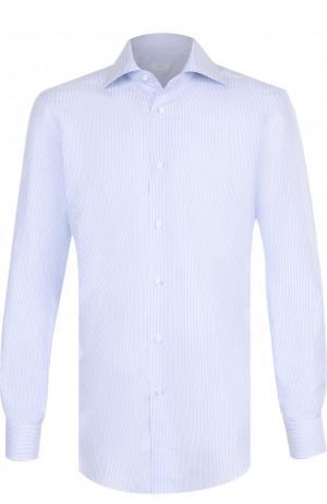 Сорочка из смеси льна и хлопка Barba. Цвет: голубой