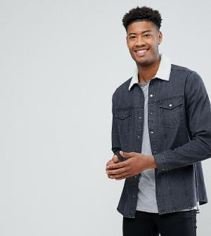 ASOS Черная джинсовая рубашка навыпуск с воротником из искусственного меха. Цвет: черный