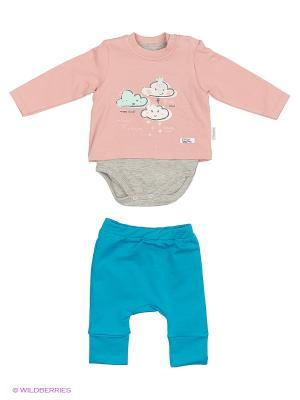 Костюм для малышей WO&GO. Цвет: розовый, бирюзовый, серый меланж