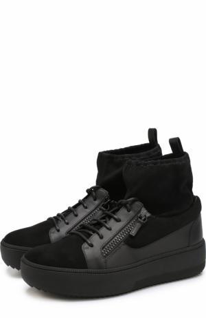 Высокие комбинированные кеды на шнуровке Giuseppe Zanotti Design. Цвет: черный