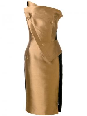 Платье на одно плечо Antonio Berardi. Цвет: коричневый