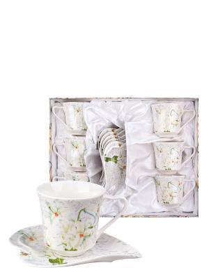 Набор для кофе Лилия Miolla. Цвет: белый, зеленый