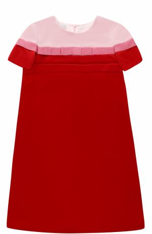 Бархатное мини-платье прямого кроя с бантом I Pinco Pallino. Цвет: красный