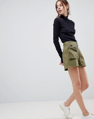 ASOS Шорты цвета хаки со съемной сумкой-кошельком на пояс. Цвет: зеленый