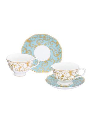 Чайная пара Королевский узор на голубом Elan Gallery. Цвет: золотистый,белый,голубой