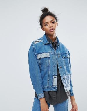 Waven Overisize-куртка в стиле пэчворк. Цвет: синий