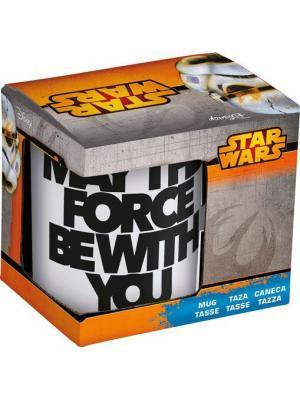 Кружка керамическая в подарочной упаковке (325 мл). Звёздные войны Да прибудет с тобой сила Stor. Цвет: белый, черный