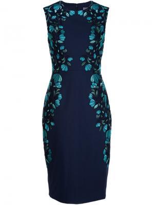 Платье с оборками Lela Rose. Цвет: синий