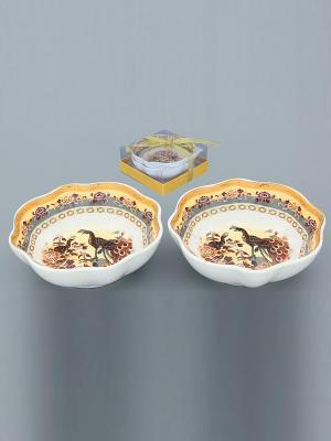Розетка для варенья Павлин на бежевом Elan Gallery. Цвет: бежевый, белый, коричневый