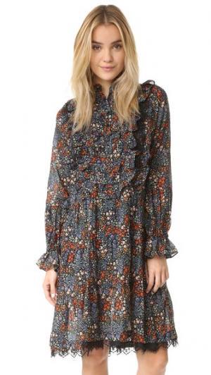 Миниатюрное платье Maison Warm. Цвет: чернильный с цветочным рисунком