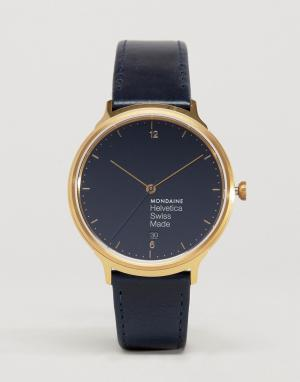 Mondaine Часы с темно‑синим ремешком Helvetica No1. Цвет: темно-синий
