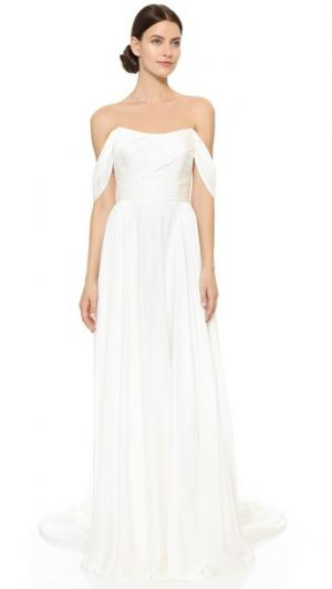 Вечернее платье Delphine с открытыми плечами Theia. Цвет: золотой