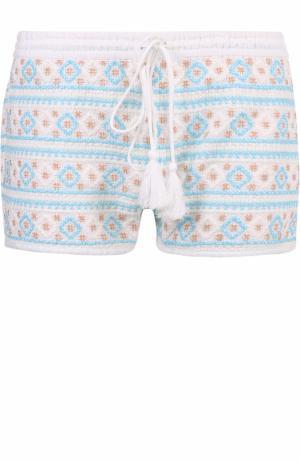 Мини-шорты с контрастной вышивкой Melissa Odabash. Цвет: голубой