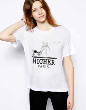 Мягкая трикотажная футболка в винтажном стиле  Higher Paris Sauce. Цвет: белый